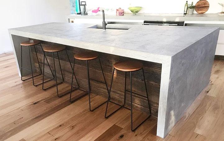 Nội thất bếp bằng bê tông mài